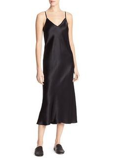 Vince Bias-Cut Satin V-Neck Midi-Length Slip Dress