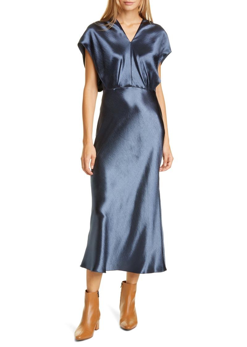 Vince Bias Cut Short Sleeve Satin Dress