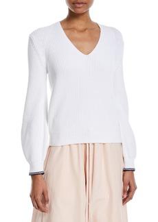 Vince Bishop-Sleeve V-Neck Rib-Knit Sweater
