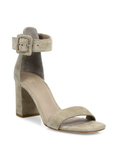 Vince Blake Buckle Suede Block Heel Sandals