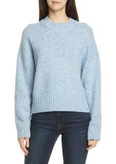 Vince Boxy High Neck Nep Merino Wool Blend Sweater