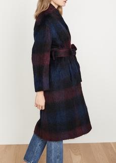 Vince Brushed Plaid Long Coat