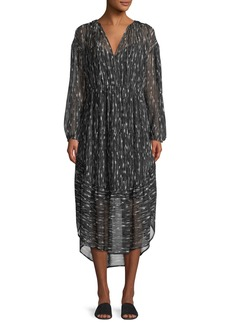 Vince Brushstroke Shirred Silk Shift Dress