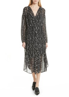 Vince Brushstroke Silk Chiffon Dress