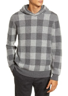 Vince Buffalo Check Slim Fit Cashmere Hooded Sweatshirt