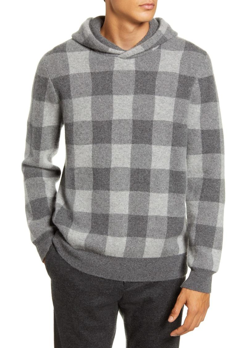 Vince Buffalo Check Slim Fit Cashmere Hooded Sweatshirt