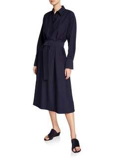 Vince Button-Front Belted Utility Shirtdress