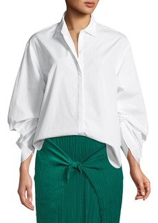 Vince Button-Front Cinched Cotton Poplin Shirt