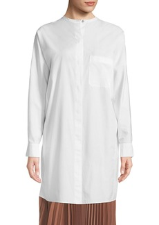 Vince Button-Front Cotton Long Tunic