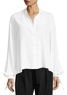 Vince Button-Front Tie-Sleeve Silk Blouse