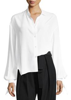 Vince Button-Front Tie-Sleeve Silk Blouse