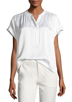 Vince Button-Placket Short-Sleeve Silk Satin Blouse