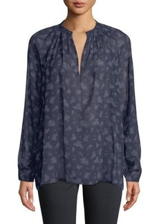 Vince Calico Floral-Print Pleat-Neck Blouse