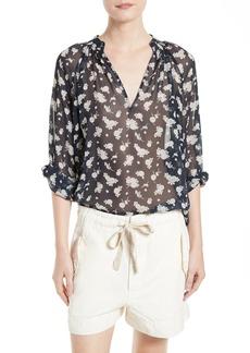 Vince Calico Floral Print Silk Blouse