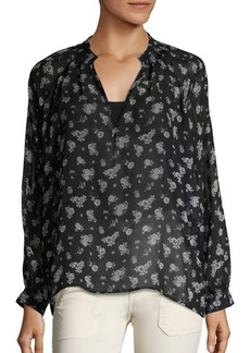 Vince Calico Floral-Print Silk Blouse