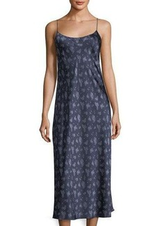 Vince Calico Floral-Print Silk Slip Midi Dress