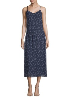 Vince Calico Floral Shirred Dress