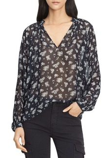 Vince Calico Floral Shirred Neck Blouse