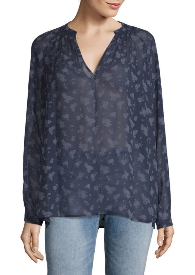 Vince Calico Floral Silk Shirt
