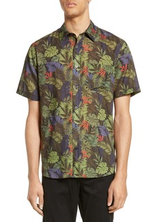 Vince California Print Slim Fit Short Sleeve Sport Shirt