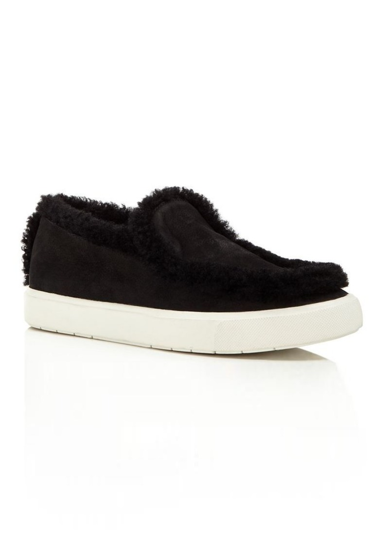 Vince Carlen Shearling and Nubuck Leather Slip On Sneakers