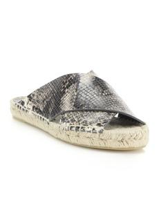 Vince Castel Snake-Embossed Leather Crisscross Espadrille Slide Sandals