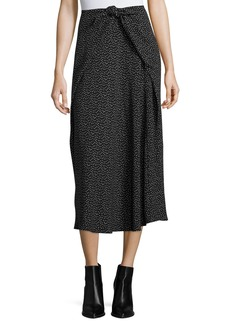 Vince Celestial Polka-Dot Tie-Front Midi Skirt