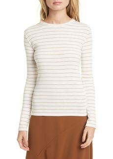 Vince Chalk Stripe Long Sleeve Cotton Blend Top