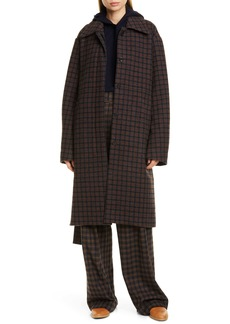 Vince Check Wool Blend Long Coat