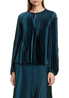 Vince Chevron Pleat Long Sleeve Top