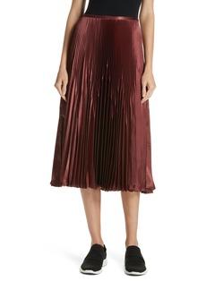 Vince Chevron Pleated Satin Skirt