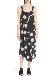 Vince Chrysanthemum Print Silk Midi Dress