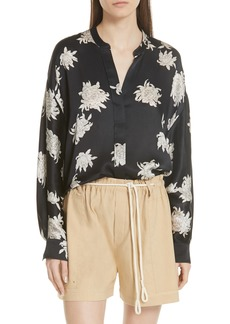 Vince Chrysanthemum Silk Blouse