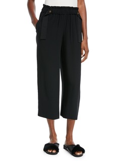 Vince Cinched Waist Crepe Ankle Culottes