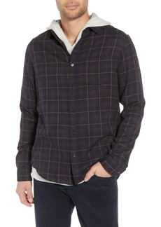Vince Classic Fit Plaid Double Knit Sport Shirt