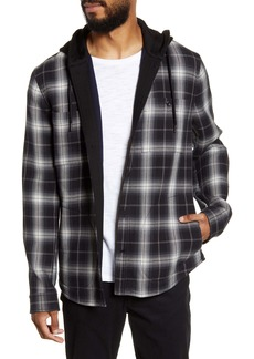 Vince Classic Plaid Contrast Detail Hooded Shirt Jacket