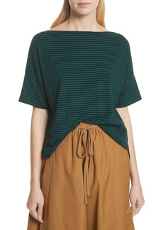 Vince Classic Stripe Boat Neck Cotton Top