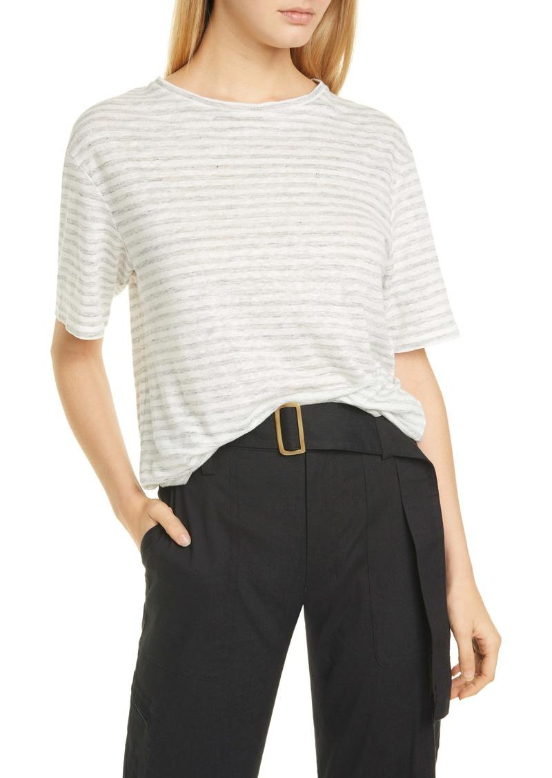 Vince Classic Stripe Linen Boyfriend Tee