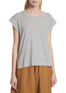 Vince Classic Stripe Rolled Sleeve Cotton Tee