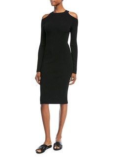 Vince Cold-Shoulder Long-Sleeve Sheath Dress
