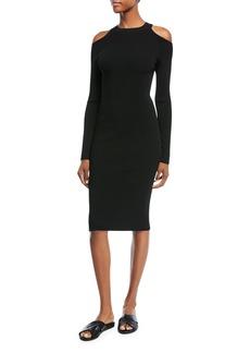 Vince Cold-Shoulder Long-Sleeve Sheath Dress