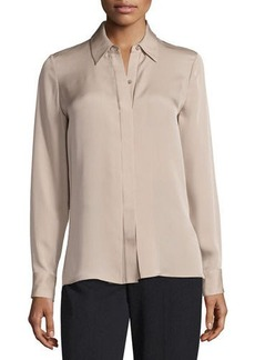 Vince Collard Button-Front Silk Blouse