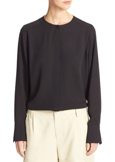 Vince Collarless Pleat-Back Silk Crepe Blouse