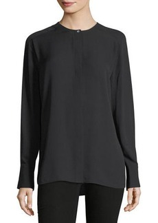 Vince Collarless Pleat-Back Silk Shirt