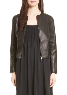 Vince Collarless Zip Front Leather Jacket