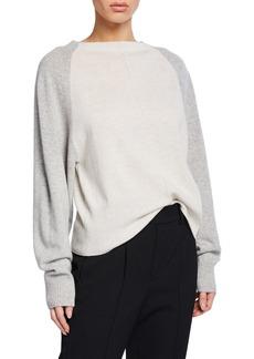 Vince Colorblack Raglan-Sleeve Crewneck Cashmere Sweater