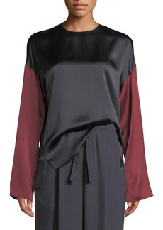 Vince Colorblock Silk Long-Sleeve Blouse