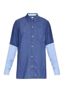 Vince Colour-block point-collar chambray shirt