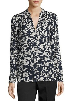 Vince Confetti-Print Long-Sleeve Silk Shirt