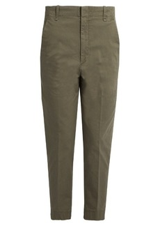 Vince Cotton-blend mid-rise tapered trousers